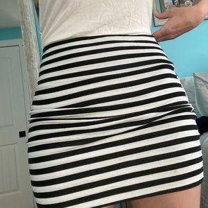 High waist striped mini skirt